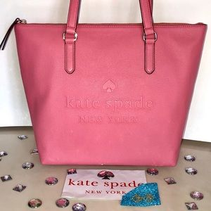 Kate♠️Spade PENNY LARCHMONT AVE LOGO TOTE Coral
